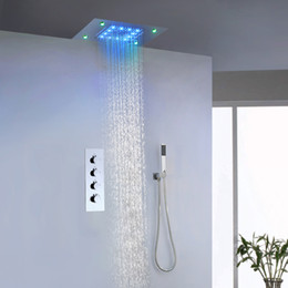 Wholesale Large Waterfall Shower Heads - Luxury Bathroom Rain And Waterfall Shower Faucet Set 50X36 CM LED Shower Head Large Water Flow Shower Valve
