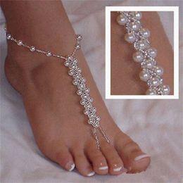 Sandalias descalzas zapatos de boda online-Sandalias Descalzas Beach Foot Chain Accesorios de Boda Joyería de La Perla Pulsera de tobillo Fuerza elástica Zapatos caseros Continuous Finger 3 88qd bb