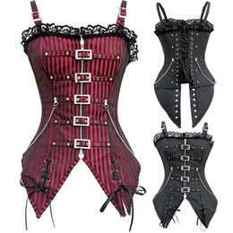 Wholesale Xxl Corset Red - 2018 New Fashion Striped Gothic Punk Steampunk Overbust Corset Waist Trainer Corsets And Bustiers S-XXL Body Shaper