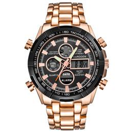 8681a9eecc0 Relógios de homem para meninos de luxo da marca CURDDEN Mens Display LED  Movimentos Digitais de Pulso de Quartzo Relógio Cronógrafo de Aço  Inoxidável levou ...