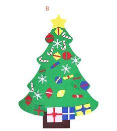 2019 autocollants de poupée Feutre Arbre De Noël DIY Décorations De Noël Mur Poupée Fenêtre Autocollant Pend Noël Fournitures De Fête Cadeaux Drop Shipping promotion autocollants de poupée