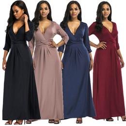 bff2cf942e3b1 3XL plus la taille des femmes longue robe de style 2018 3 4 manches sexy v  profond cou cou soirée tunique maxi vêtements noir vestidos grande taille