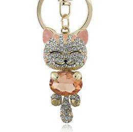 Fortunato sorriso gatto di cristallo strass portachiavi portachiavi titolare borsa borsa per auto regalo di natale portachiavi gioielli llaveros k218 da