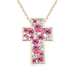 Оптовая большой крест Кристалл Камень кулон ожерелье с 80 см длинная цепь с кристаллами от Swarovski для 2018 женщин девушки подарок от Поставщики оптовая продажа swarovski