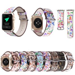 Wholesale S3 Style - Silicone Printed Bands Leather Strap for Apple Watch iwatch S1 S2 S3 38mm and 42mm Smart watch Flower Belt with Buckle national style GSZ437