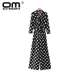 Wholesale women playsuit dots - OMCHION Fashion Jumpsuits For Women 2018 Dot V Neck Sashes Waist Belt Long Sleeve Playsuit Loose Casual Wide Leg Pants LA447