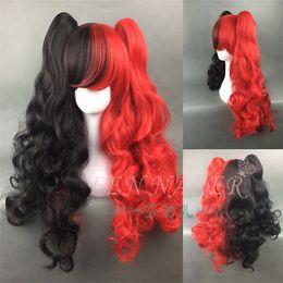 peruca vermelha longa rabo de cavalo Desconto Livre o navio Harley Quinn preto ondulado cabelo vermelho cosplay sintético longo 2 rabo de cavalo peruca
