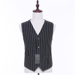 Costume classique noir blanc en Ligne-Hommes Britannique Style Costume Gilet Noir Blanc Rayures Gilet Gilet Pour Hommes Casual Vintage Poches Classique De Mariage Gilets Manteau Mâle