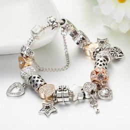 925 armband versilbert herz online-Hochwertige 925 Silber Überzogene herzförmige Charms und Schlüssel Anhänger Armband für Pandora Charm Armbänder Geschenk Schmuck
