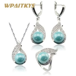Wholesale pearl earring necklace box - whole saleLight Blue Simulated-Pearl White CZ Silver Color Jewelry Sets For Women Necklace Pendant Long Earrings Rings Free Gift Box