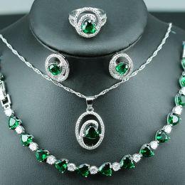 Grünes kristallherzarmband online-Silberne Farbe 925 Heart-Shaped Brautschmucksachen für Frauen, die grüne Kristallohrringe / Anhänger / Halskette / Ring / Armband Wedding sind