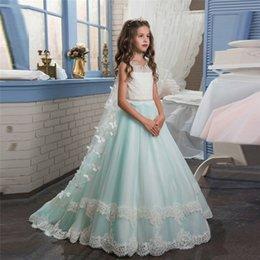 Kommunionsjacken online-Prinzessin Butterfly Green Blumenmädchenkleider für Hochzeiten mit Jacke Kinder Abendkleider Erstkommunion Kleider für Mädchen Vestido Daminha