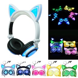 Wholesale Cat Ears Headphone - 2018 cat ear headphone Foldable flashing glowing Headsets with LED light for apple iphone 7 plus 6S plus MP3 Cell phone Earphones