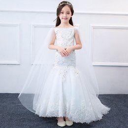 Wholesale Turtleneck Sleeveless Gown - Princess White Lace Flower Girl Dresses New Sleevesless shawl First Communion Birthday Party Dresses Girls Pageant Dress For Wedding A8925