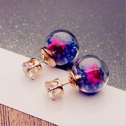 Heiße Europa Modeschmuck Nette Glaskugel Strass Blume Ohrstecker Frauen Elegante Ohrringe von Fabrikanten