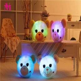 Wholesale Light Up Pillows - Vanmajor 36CM Glowing Bear Plush Toy Luminous Led Light Up Bear Stuffed Plush Toy Soft Pillow Birthday Gift