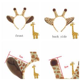 Bandas para la cabeza de disfraces de animales online-Palos del pelo de la jirafa de la felpa diadema de los oídos de Halloween Niños Animal Costume Fancy Cosplay Dress Up Accesorios para el cabello Fuentes del partido 36pcs AAA805