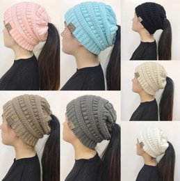 Wholesale fits knit beanie - CC Ponytail Beanie Hat 10 Colors Women Crochet Knit Cap Winter Skullies Beanies Warm Caps Female Knitted Hats OOA5325