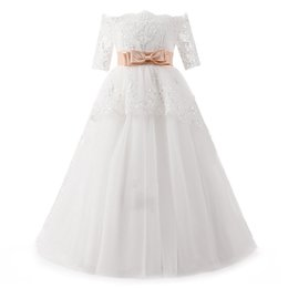 Wholesale wedding gowns online china - Real Cheap White Princess Flower Girl Dresses Off the Shoulder With Sleeves Lace Bow Kids Wedding Dresses China Online Sale Girl Party Gowns