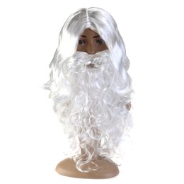 santa beard wigs Coupons - Deluxe White Santa Fancy Dress Costume Wizard Wig and Beard Set Christmas Halloween