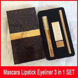 Hot New Marque Maquillage Set 3pcs / Set Mascara Rouge à Lèvres Eyeliner 3 en 1 SET Cosmétiques DHL Shipping ? partir de fabricateur