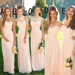 red flowing formal dresses Promo Codes - 2018 Pink Navy Long Bridesmaid Dresses Mixed Flow Chiffon Summer Blush Bridesmaid Formal Prom Party Dresses with Ruffles Country CPS490