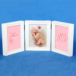Wholesale Best Photo Box - Large Growing gift baby photo frame DIY handprint or footprint soft clay safe non-toxic best souvenir gift for baby photo album