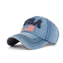 Nueva llegada snapback cap algodón Denim gorra de béisbol bandera EE. UU.  Bordado sombrero de alta calidad para hombres mujeres Hip Hop unisex 0c5758b18fa