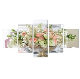 Wholesale lily flower wall canvas - Free shipping5 5 Panel Rose Lily Flowers Wall Art Paintings Living Room High Quality Modern Print Painting Home Decor Modular Canvas HD Prin