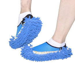 mops slippers clean Promo Codes - 2 pcs Dusting Cleaning Foot Shoes Mop Slipper Floor Cleaner Purple