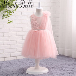 Wholesale lace flower girl dresses china - Modabelle Lovely Puffy Pageant Flower Girls Dresses With Tulle Shawl Pink Beaded Lace China Girl First Holy Communion Dress 2017