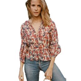 Wholesale Three Quarter Loose Sleeve Blouse - Floral Print Blouse Shirt For Women 2018 Spring Buttoned Front Three Quarter Sleeve Loose Boho Chic Cotton Vintage Blusas Tops