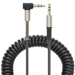 Cables de resorte online-Cable de audio auxiliar de 3,5 mm Cable plano Cable auxiliar AUX. De 90 grados con alivio de acero para auriculares iPods iPhones Portátil Estéreo para el hogar