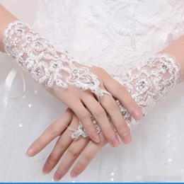 Wholesale Wedding Gowns Free Shipping - Bridal Gloves Lace Ring Finger Wrist Length Applique White Red And Ivory Three Color Bridal Accessories Free Shipping Wedding Gown