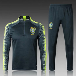 Wholesale tight black shirts - 2018 2019 Brazil tracksuit World Cup training suits Uniforms shirts Chandal NEYMAR JR jacket Survetement long sleeve tight pants brazil