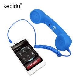Wholesale Receiver Telephone - Kebidu 3.5mm Mic Retro Telephone POP Cell Phone Vintage POP Cell Phone Handset Receiver Volume Control for Iphone