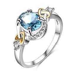 Nouveaux produits de mode européenne et américaine commerce extérieur en gros style chaud exquis bleu zircon anneau femelle design créatif usine dire ? partir de fabricateur