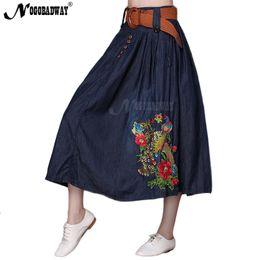 Wholesale Purple Ladies Jeans - 2018 autumn high waist denim skirt women long skirt maxi pleated flower embroidered jeans skirts ladies vintage casual saias 5XL