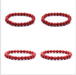 Wholesale Male Female Beaded Bracelets - High Quality 8mm Elasticity Red Stone Beaded Bracelet Yoga Energy Natural Stone Bracelet Male&Female Gifts