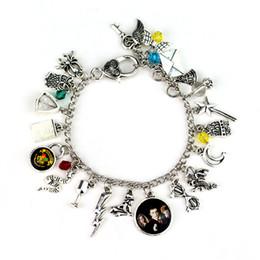 Brazalete brazalete de plata dorada online-Colección de plata antigua Pulsera Brazalete Pulsera con snitch dorada Reliquias de la muerte Encantos de cristal Joyería de moda Will y Sandy