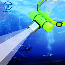 Argentina TRANSCTEGO Diving Headlight Super Light Professional Diving Headlamp Impermeable Sumergible Luz Lámparas de cabeza Puede cargar Led cheap led dive head lamp Suministro