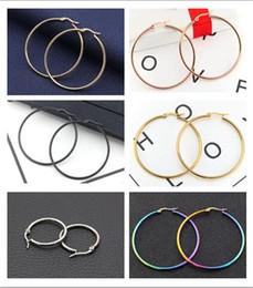 orecchini di cerchio di titanio nero Sconti 2018 nuovo oro nero argentato oro rosa sette colori esagera grande orecchini a cerchio orecchio acciaio al titanio fibbia dell'orecchio 30mm / 40mm