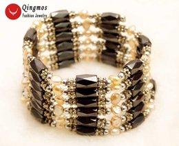 colliers de perles roses Promotion Qingmos Pink Pearl Bracelet pour femmes avec 4-5mm Naturel Perle Baroque Noir Hématite Magnétique 38 '' Long Collier Bracelet 351