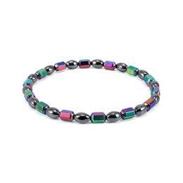 Wholesale oval stone beads - Top Quality Magnet Oval Beads Anklet Colorful Stone Magnetic Therapy Bracelet Anklet AB Color Black Gallstone Anklet Women Jewelry H560Q