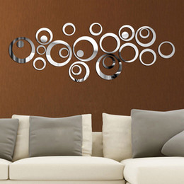 Cercles de mur 3d en Ligne-24pcs / set 3D DIY Circles Wall Sticker Décoration murale Miroir Stickers pour TV fond Home Décor acrylique Décoration murale Art
