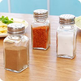 condiments container Promo Codes - 100ml Square condiment bottle field barbecue pepper BBQ flavouring container condiment jar salt bottles Sesame powder Cayenne pepper bottle