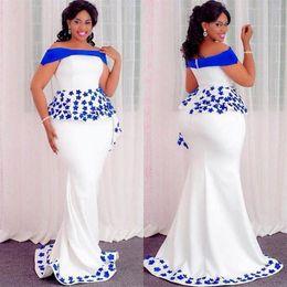 Вечерние платья большого размера с королевскими синими аппликациями с баской с плеча платье выпускного вечера русалки молния атласные женщины вечернее платье от Поставщики формальные платья для невесты