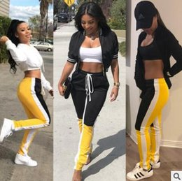 Wholesale womens summer trousers - 2018 spring summer womens sweatpants Retro fashion stitching Casual sports pants Elastic waist tie trousers Black yellow contrast color