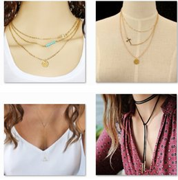 Wholesale 14k Gold Jade - 30 Styles Dogeared choker Necklaces With card Gold Circle Elephant Pearl Love Wings Cross Unicorn Pendant Necklace For Fashion women Jewelry