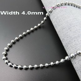 Wholesale 4mm Steel Ball - Customizes 4mm 40 5060 70 80 90 100cm Length Ball Chain Bead Chains Stainless Steel Necklace fashion Jewelry Parts